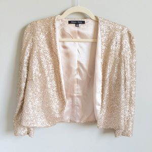 SWEET RAIN Rose Gold Sequined Blazer | L